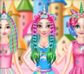 Hra - Princesses Rainbow Unicorn Hair Salon
